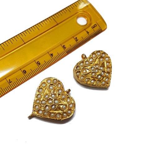 2pcs, 26mm, Heart Shape Jadau Spacer