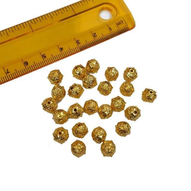 20pcs, 7mm Golden Spacer Beads