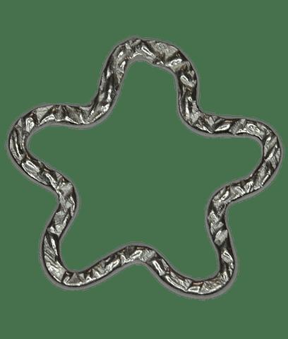 92.5 Sterling Silver Striped Star Ring