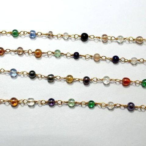 1 Mtr Glass Beaded Chain Multi