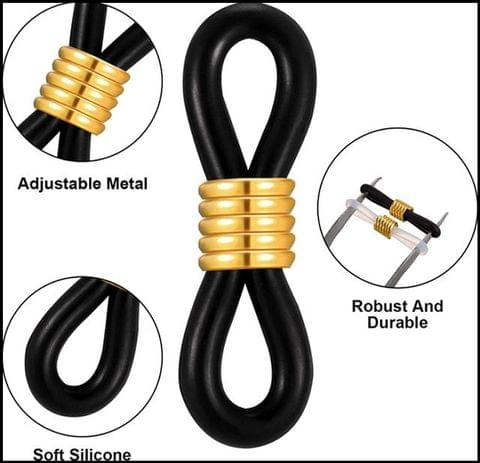 10 Pcs Eyeglass Chain Rubber Ends Black and Gold