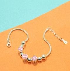 Pink Floral Charms Sterling Silver Bracelets