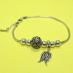 Wings Sterling Silver Oxidized Finish Bracelet