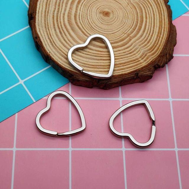 5 Pcs Heart Shaped Double Split Key chain 1.25 Inch