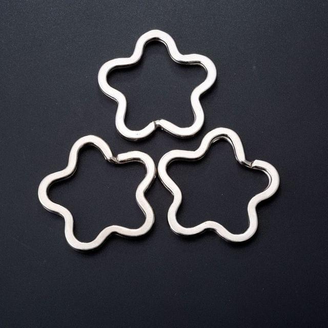 5 Pcs Flower Shaped Double Split Key chain 1.25 Inch