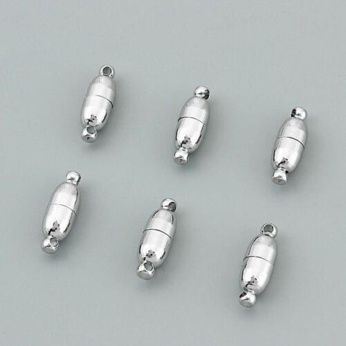 Silver 5 Pcs Magnetic Clasps , Size 13x6mm