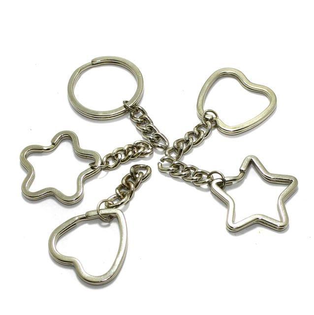 5 Pcs Assorted Shaped Double Split Key chain 1.25 Inch