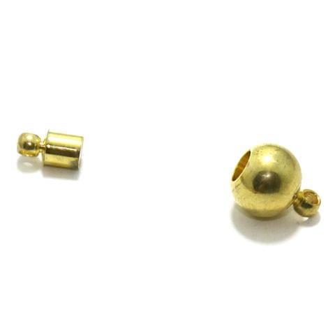 Golden 5 Pcs Insert Lock Magnetic Clasps , Size 8mm