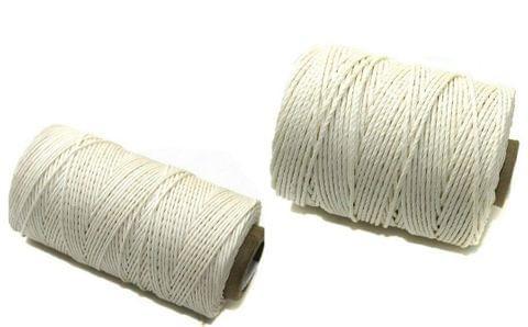 2 Spools Hemp Twine Cord White 1mm and 2mm Combo