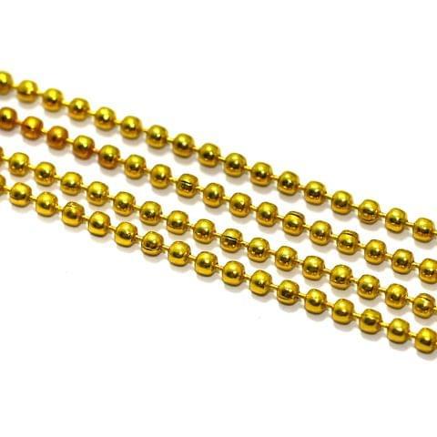 5 Mtrs, 2mm Aluminium Ball Chain Yellow
