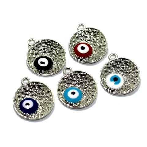 5 Pcs Meenakari Brass Evil Eye Charms 16mm