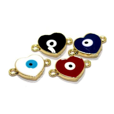 4 Pcs Meenakari Brass Heart Evil Eye Charms Connector 13mm