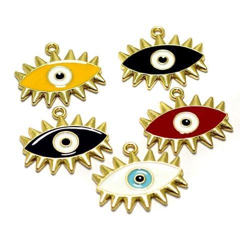 5 Pcs Meenakari Brass Evil Eye Charms 22x17mm