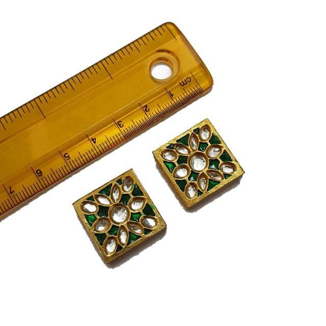 22mm, 2 pcs, Green Meenakari Kundan Spacers And Connectors