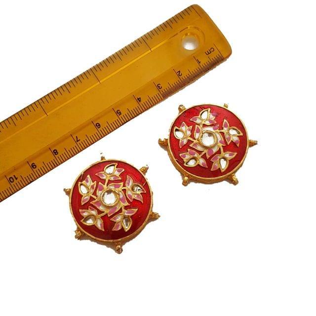 40mm, 2 pcs, Red Kundan Meenakari Spacers And Connectors