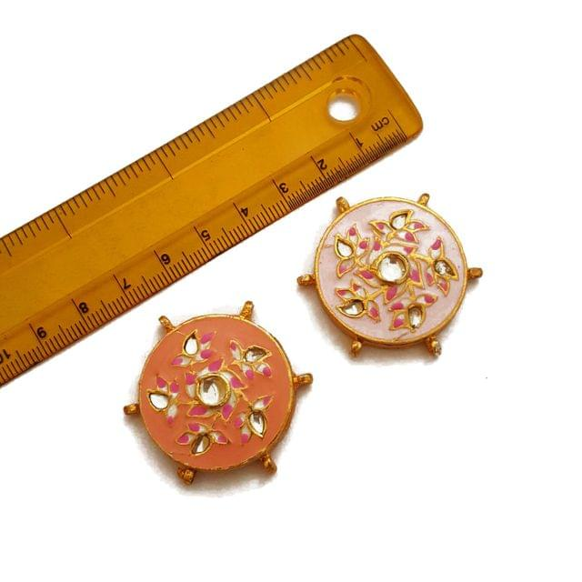 40mm, 2 pcs, Pink Peach Kundan Meenakari Spacers