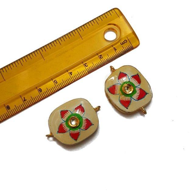 23x34mm, 2 pcs, Floral Kundan Meenakari Spacers