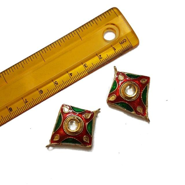 28x37mm, 2 pcs, Multi Kundan Meenakari Spacers
