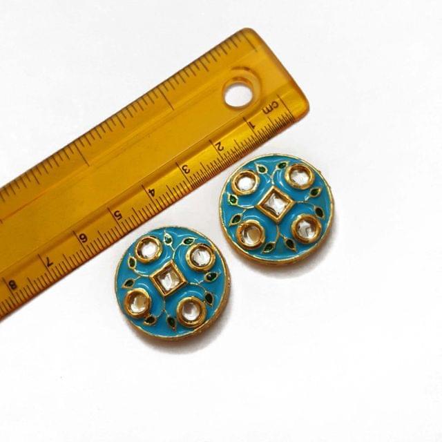 27mm, 2 pcs, Turquoise Kundan Meenakari Spacers