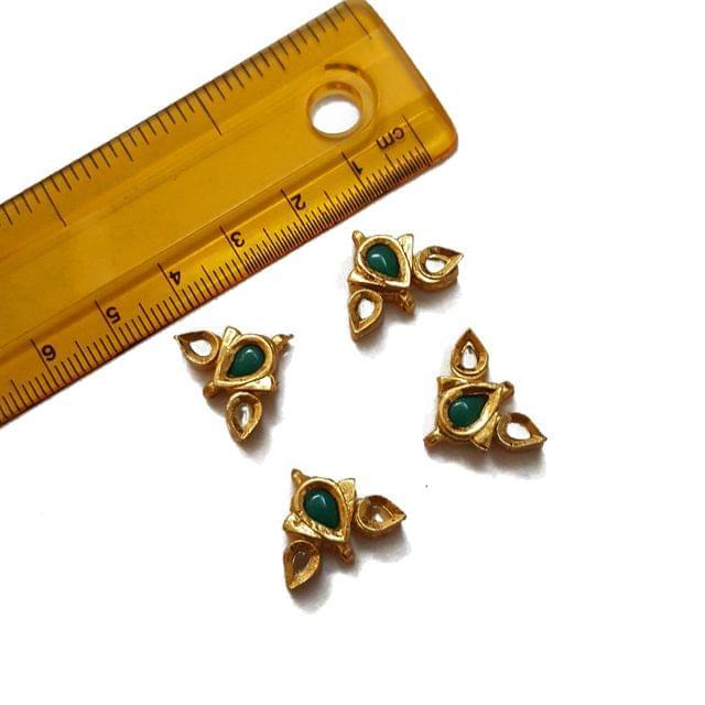 13x18mm, 4 pcs, Green Stone Kundan Spacers