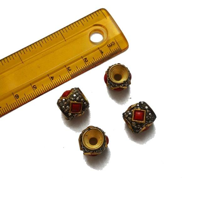 13mm, 4 pcs, Red Stone Antique Beads