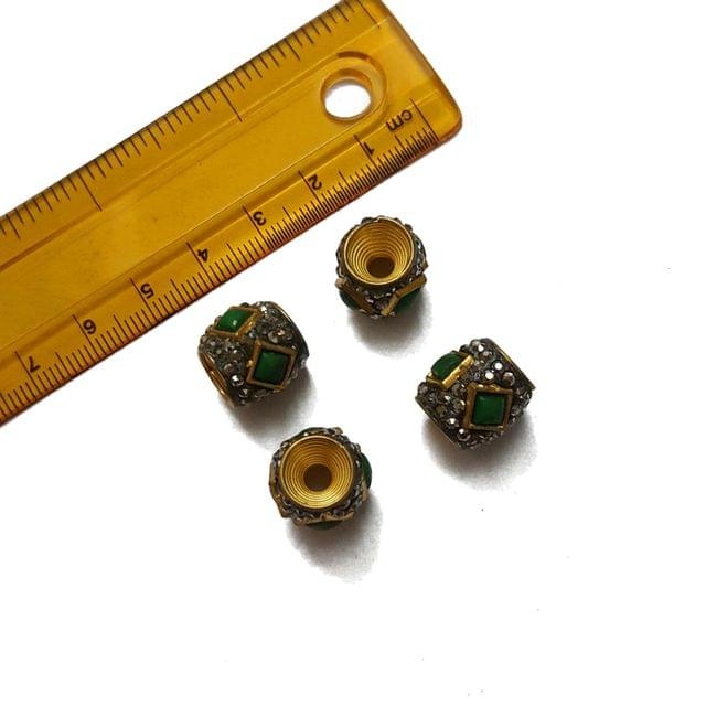 13mm, 4 pcs, Green Stone Antique Beads