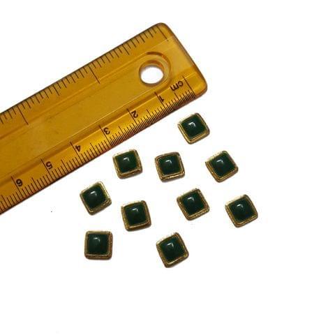8mm, 20 pcs, Green Square Glass Stones Cabochons