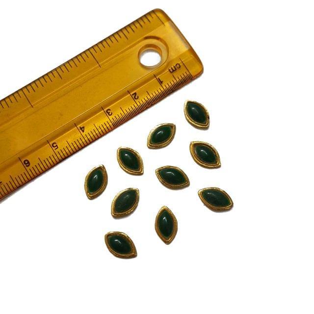 6x11mm, 20 pcs, Green Kisti Glass Stones Cabochons
