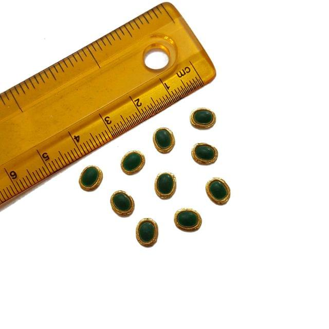 6x7mm, 20 pcs, Green Oval Glass Stones Cabochons