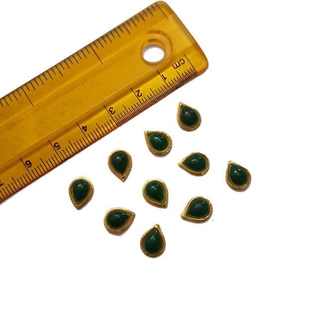7x9mm, 20 pcs, Green Drop Glass Stones Cabochons