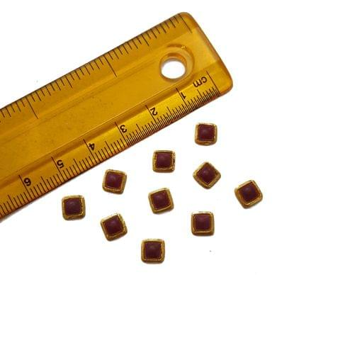 6mm, 20 pcs, Red Square Glass Stones Cabochons