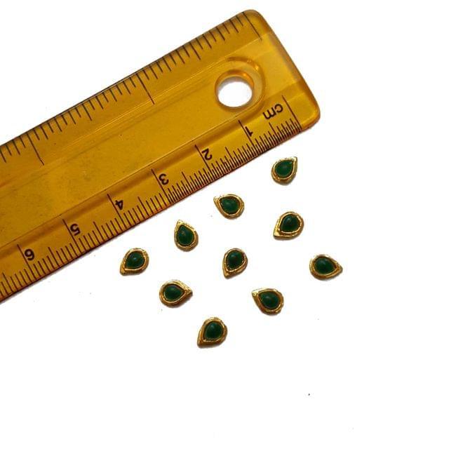 4x6mm, 20 pcs, Green Drop Glass Stones Cabochons