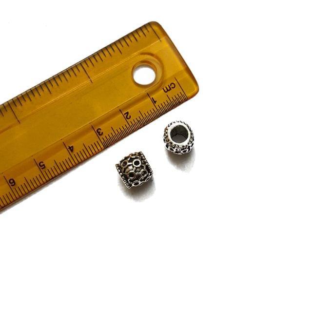 9mm, 10 pcs, German Silver Engraved Drum Beads