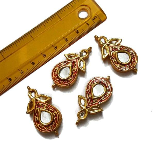 19x40mm, 2 pcs, Red Kundan Spacers And Connectors