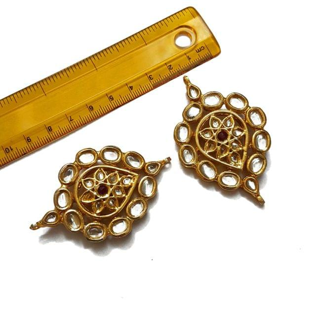 2.5 inches, 2 pcs, Kundan Spacers And Connectors