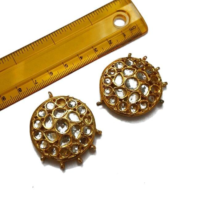 35x42mm, 2 pcs, Round Kundan Spacers And Connectors