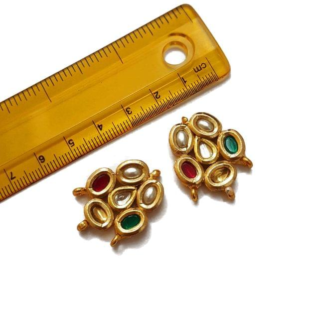 22x29mm, 2 pcs, Multi Stone Kundan Spacers