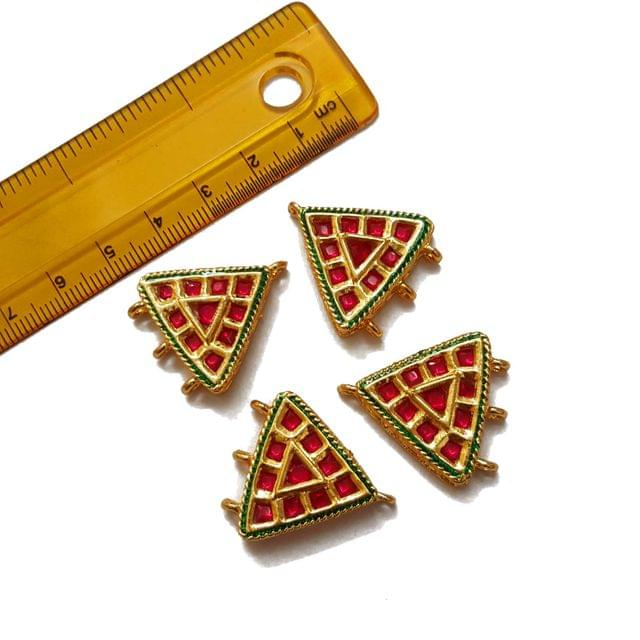 25x28mm, 4 pcs, Red Stone Spacers And Connectors