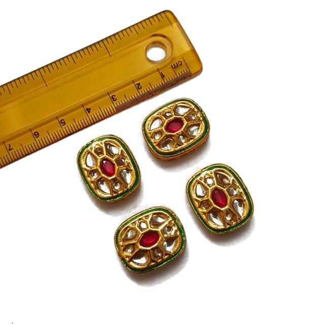 19x22mm, 4 pcs, Red Kundan Spacers