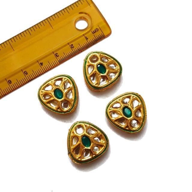 21mm, 4 pcs, Green Stone Kundan Spacers