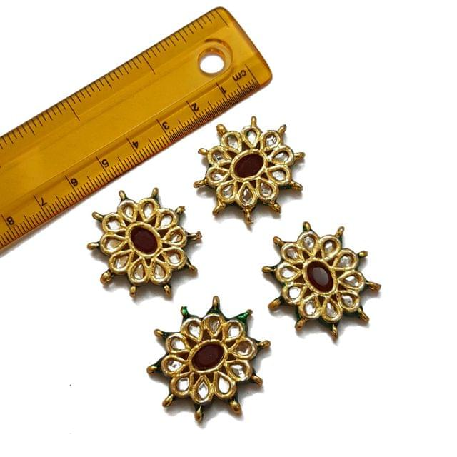 33x31mm, 4 pcs, Red Stone Kundan Spacers