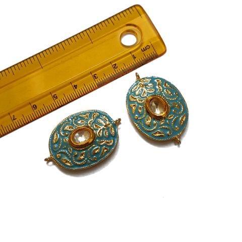 24x37mm, 2 pcs, Turquoise Meenakari Kundan Spacers