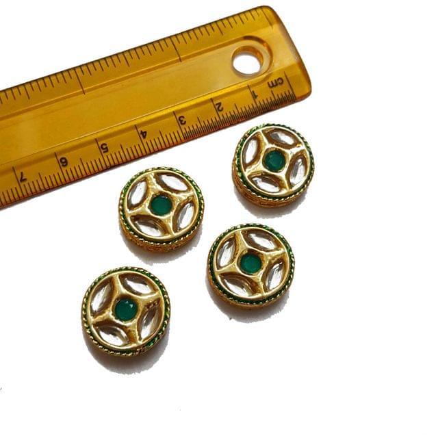 20mm, 4 pcs, Green Stone Kundan Spacers