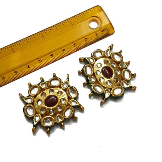 41mm, 2 pcs, Red Stone Kundan Spacers