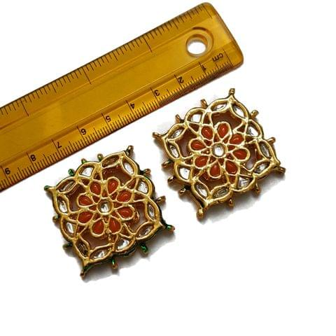 39mm, 2 pcs, Orange Stone Kundan Spacers
