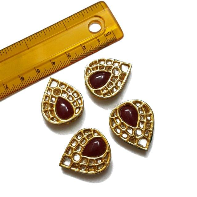 24x28mm, 4 pcs, Red Stone Kundan Spacers