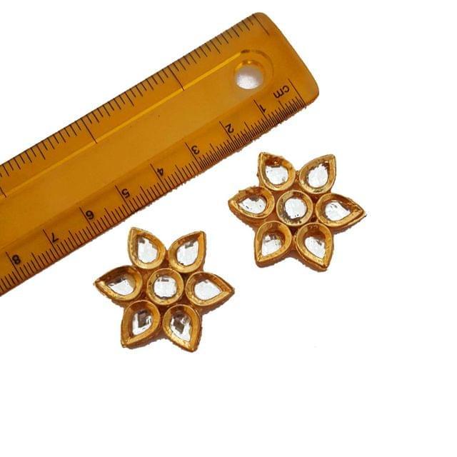 33mm, 2 pcs, Floral Kundan Spacers And Connectors