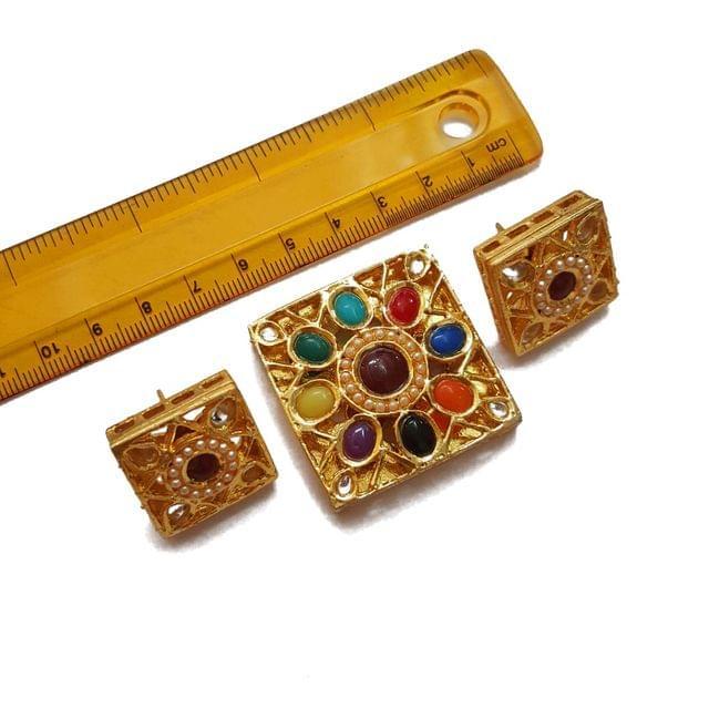 1.5 inches pendant, 1 inch earring, Navratana Kundan Pendant Set