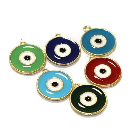 6 Pcs Meenakari Brass Evil Eye Charms Connector 20mm