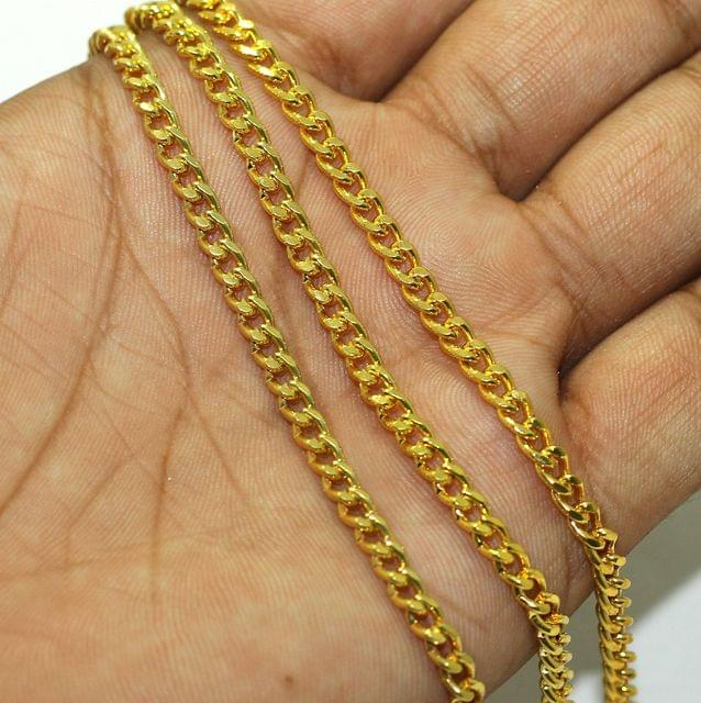1 Mtr Gold Finish Metal Chain, Link size 6x3mm